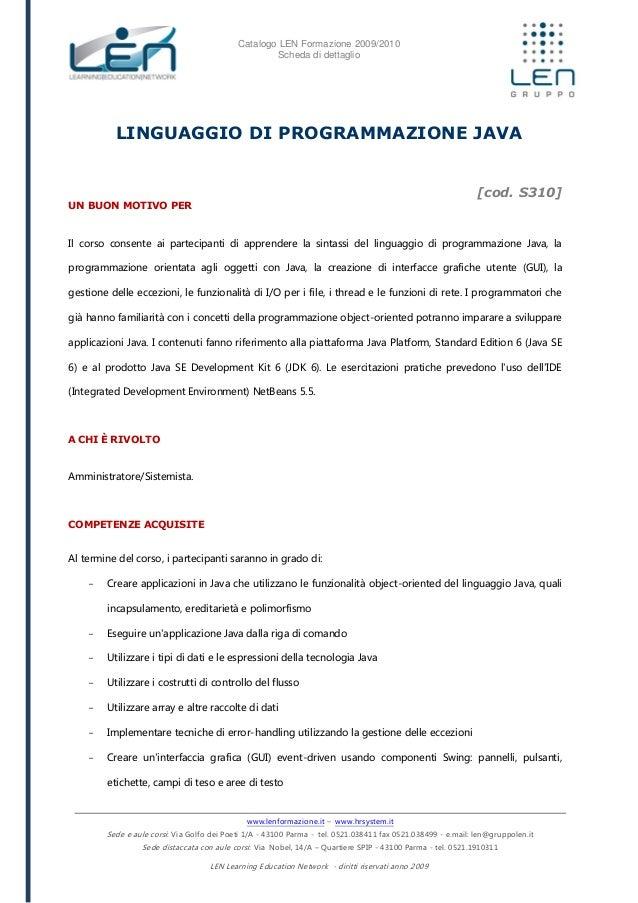 Linguaggio di programmazione java - Scheda corso LEN