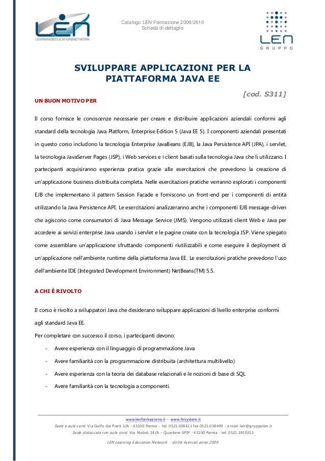 Sviluppare applicazioni per la piattaforma java EE - Scheda corso LEN
