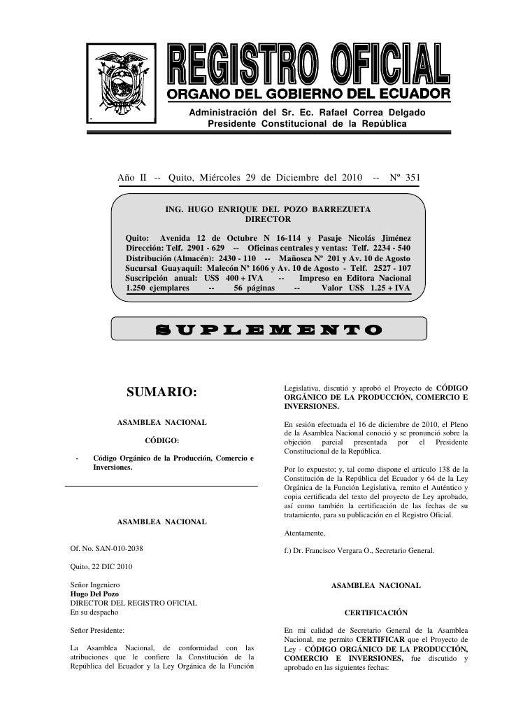 Codigo de la Producción Ecuador COPCI