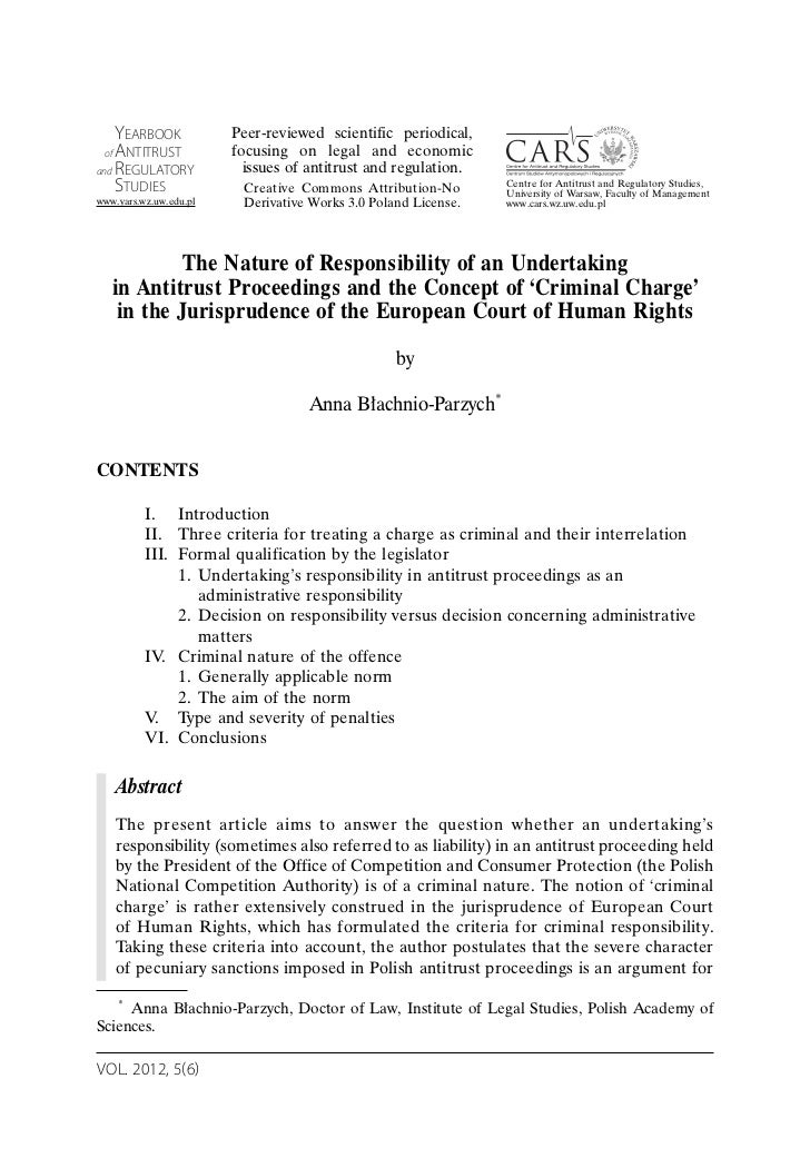 The Nature of Responsibility of an Undertaking in Antitrust Proceedings and the Concept of 'Criminal Charge' in the Jurisprudence of the European Court of Human Rights