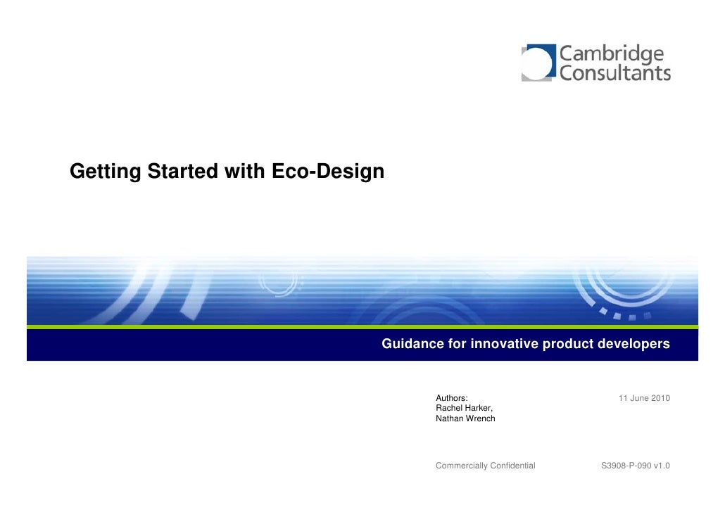 Getting Started with Eco-Design                                   Guidance for innovative product developers              ...