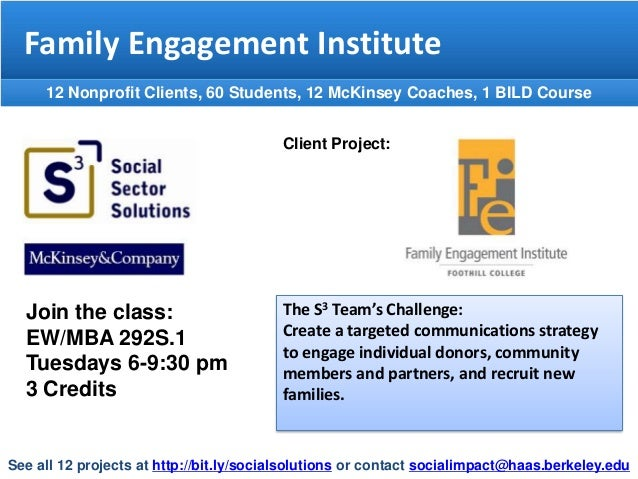 Family Engagement Institute 12 Nonprofit Clients, 60 Students, 12 McKinsey Coaches, 1 BILD Course Client Project:  Join th...