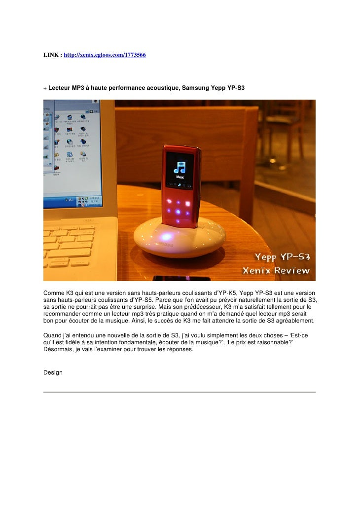 LINK : http://xenix.egloos.com/1773566     + Lecteur MP3 à haute performance acoustique, Samsung Yepp YP-S3     Comme K3 q...