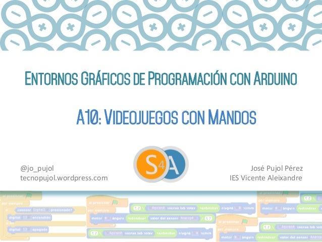 ENTORNOS GRÁFICOS DE PROGRAMACIÓN CON ARDUINO A10: VIDEOJUEGOS CON MANDOS José  Pujol  Pérez   IES  Vicente  Ale...