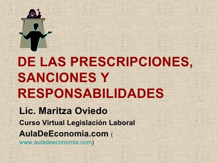 S4 De Las Prescripciones, Sanciones Y Responsabilidades