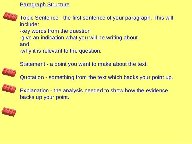 Paragraph Structure Topic Sentence - the first sentence of your paragraph. This will include: ·key words from the question...