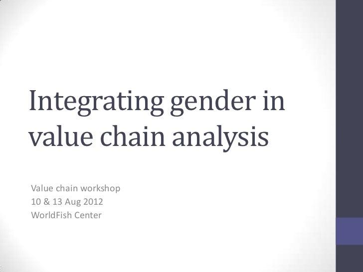Integrating gender invalue chain analysisValue chain workshop10 & 13 Aug 2012WorldFish Center