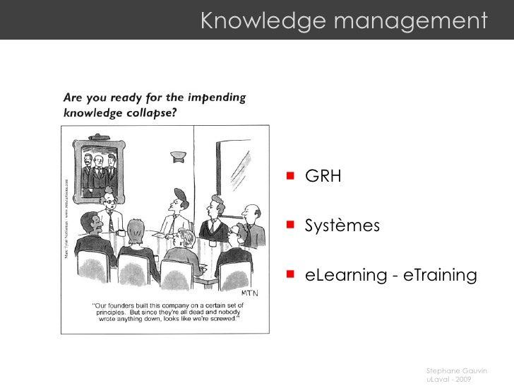 Knowledge management <ul><li>GRH </li></ul><ul><li>Systèmes </li></ul><ul><li>eLearning - eTraining </li></ul>