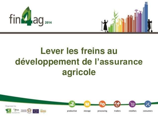 Lever les freins au développement de l'assurance agricole