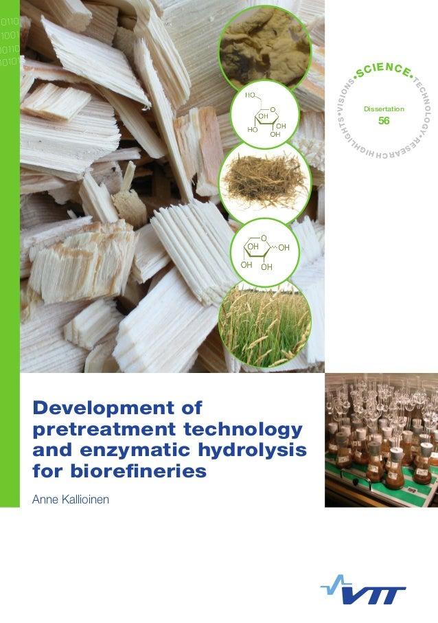 Development of pretreatment technology and enzymatic hydrolysis for biorefineries. Anne Kallioinen