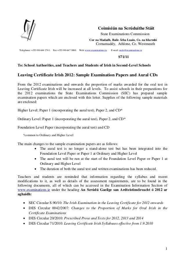 1 Coimisiún na Scrúduithe Stáit State Examinations Commission Cor na Madadh, Baile Átha Luain, Co. na hIarmhí Cornamaddy, ...