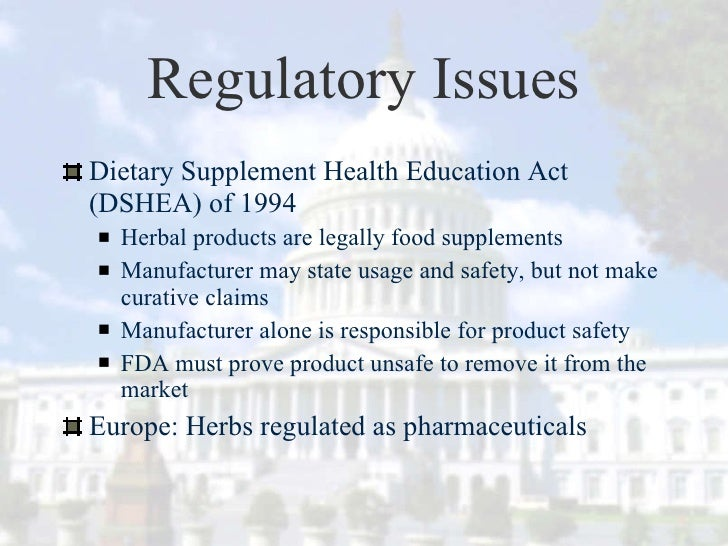 Dietary Supplement Safety, Regulation and Standardization