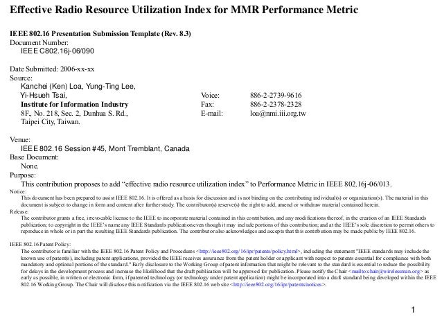 Effective Radio Resource Utilization Index for MMR Performance Metric IEEE 802.16 Presentation Submission Template (Rev. 8...