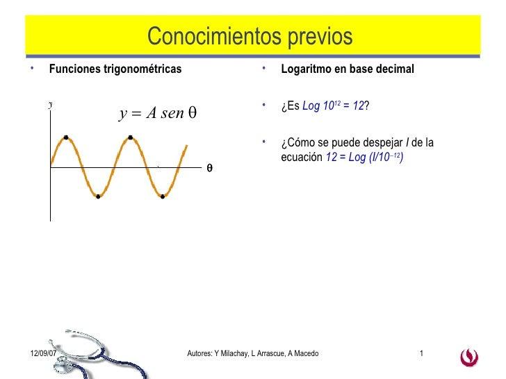 Conocimientos previos  <ul><li>Funciones trigonométricas  </li></ul><ul><li>Logaritmo en base decimal </li></ul><ul><li>¿E...