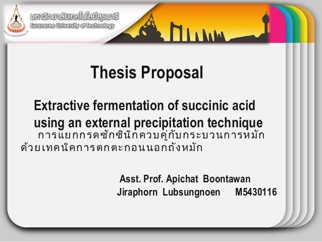 WINTER             Thesis Proposal                   Template  Extractive fermentation of succinic acid  using an external...