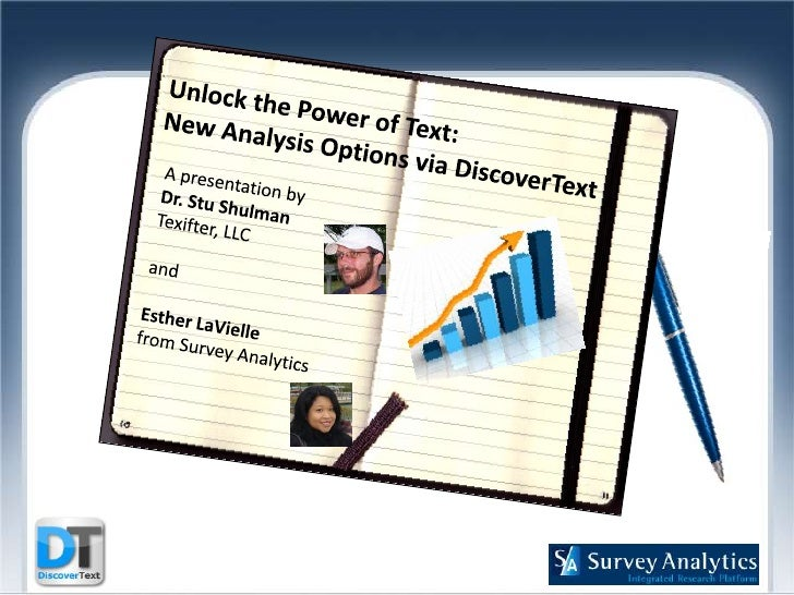 Unlock the Power of Text:  New Analysis Options viaDiscoverText<br />A presentation by<br />Dr. Stu Shulman<br />Texift...