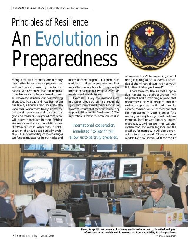 I   EMERGENCY PREPAREDNESS           I   by Doug Hanchard and Eric RasmussenPrinciples of ResilienceAn Evolution inPrepare...