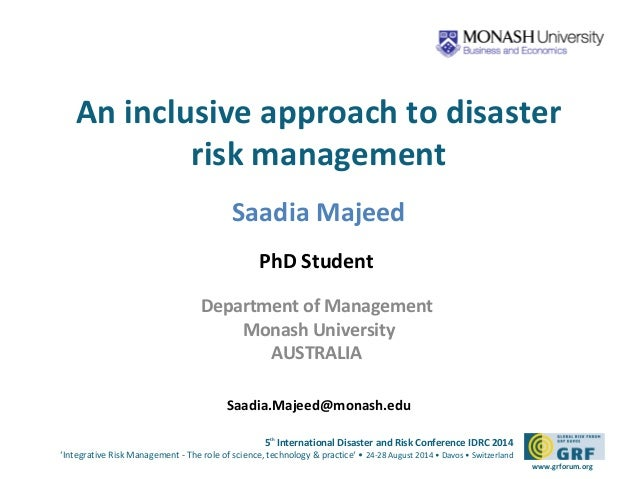 An inclusive approach to disaster  5th International Disaster and Risk Conference IDRC 2014  'Integrative Risk Management ...