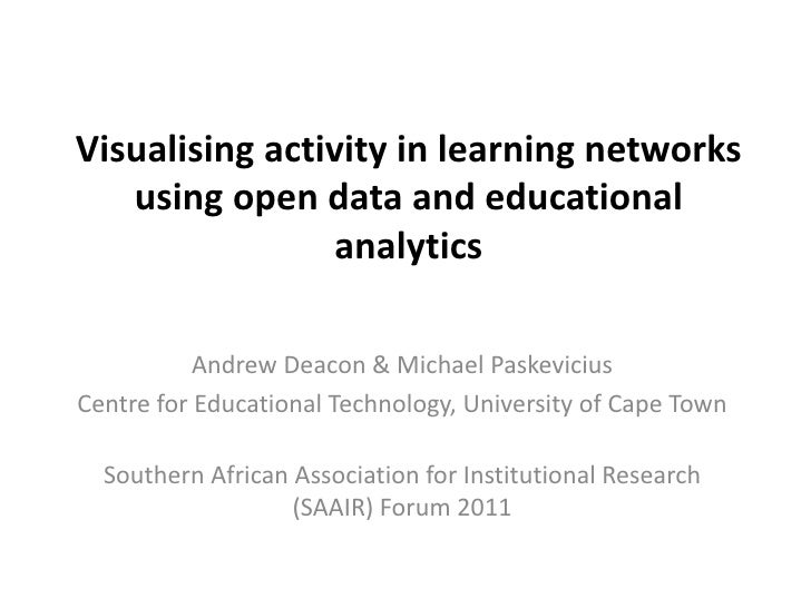 Visualising activity in learning networks using open data and educational analytics