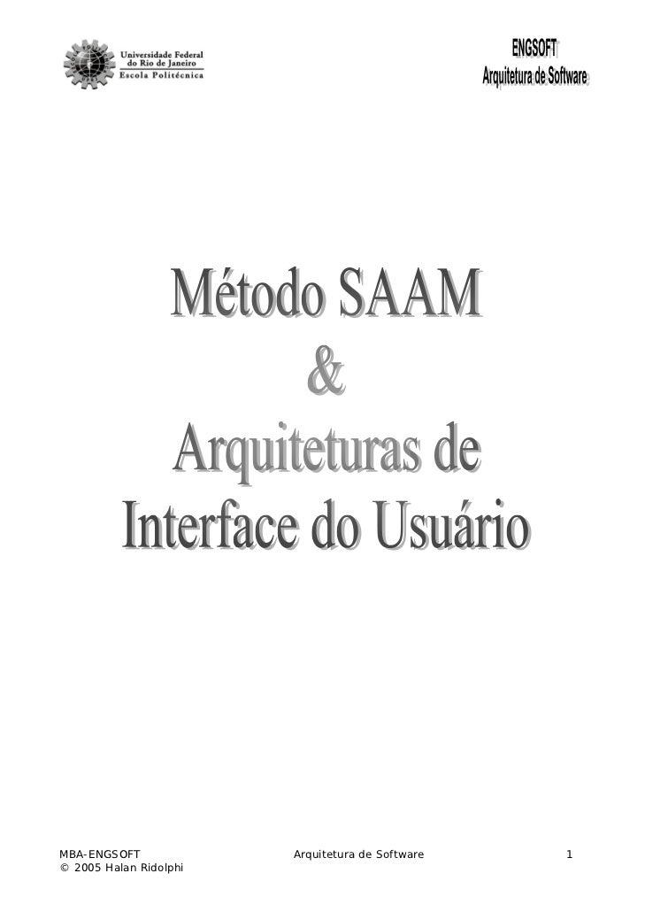 MBA-ENGSOFT             Arquitetura de Software   1© 2005 Halan Ridolphi