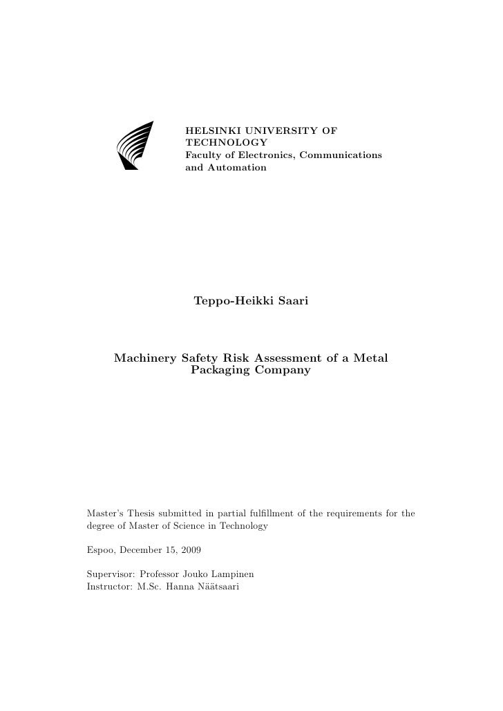 Machinery Safety Risk Assessment of a Metal Packaging Company