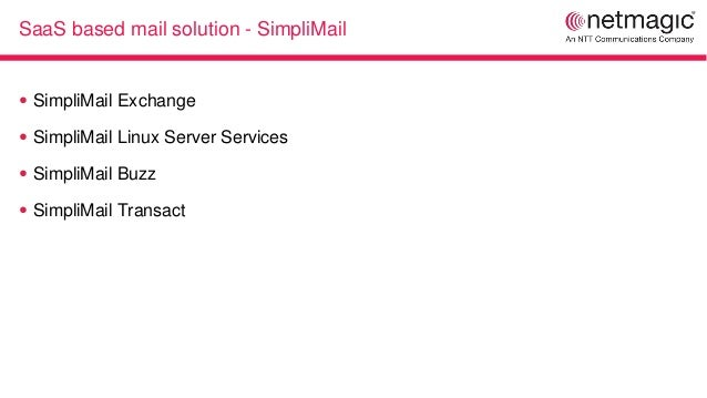 SaaS based mail solution - SimpliMail ● SimpliMail Exchange ● SimpliMail Linux Server Services ● SimpliMail Buzz ● SimpliM...