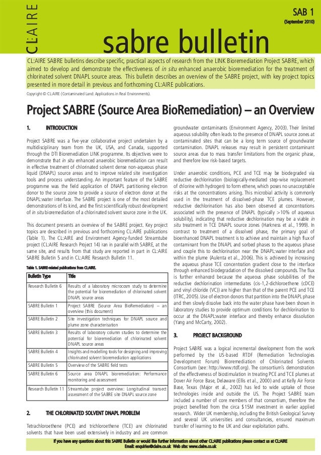 CL:AIRE SABRE bulletins describe specific, practical aspects of research from the LINK Bioremediation Project SABRE, which...