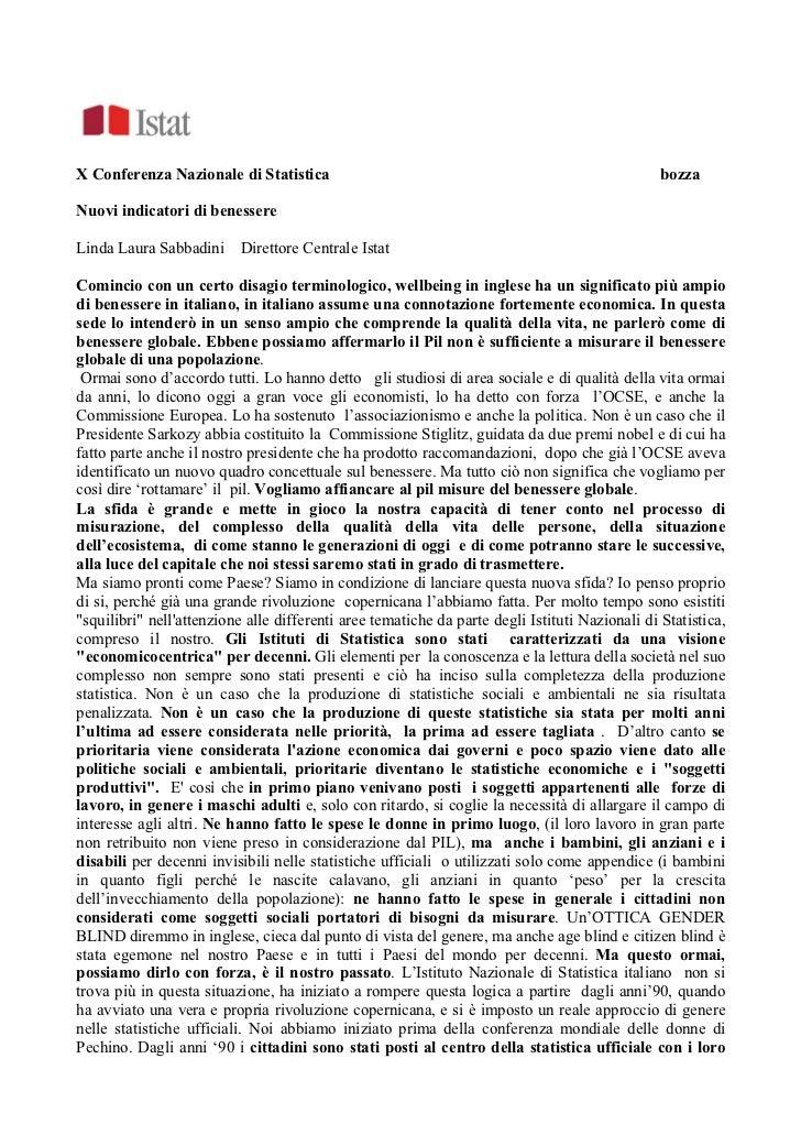 L.L. Sabbadini: Nuovi indicatori di benessere