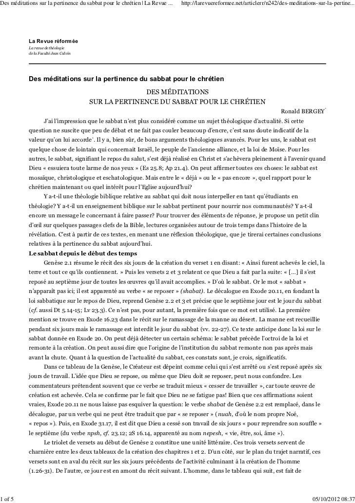 Des méditations sur la pertinence du sabbat pour le chrétien   La Revue ...   http://larevuereformee.net/articlerr/n242/de...