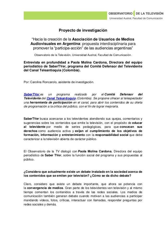 Asociación de Usuarios de Medios Audiovisuales en Argentina. Entrevista completa a Paola Molina Cardona, Directora del equipo periodístico de Saber TVer (Colombia)