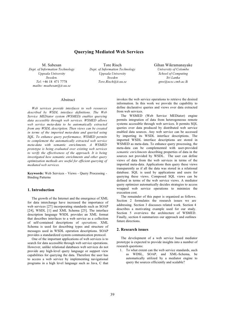 Querying Mediated Web Services