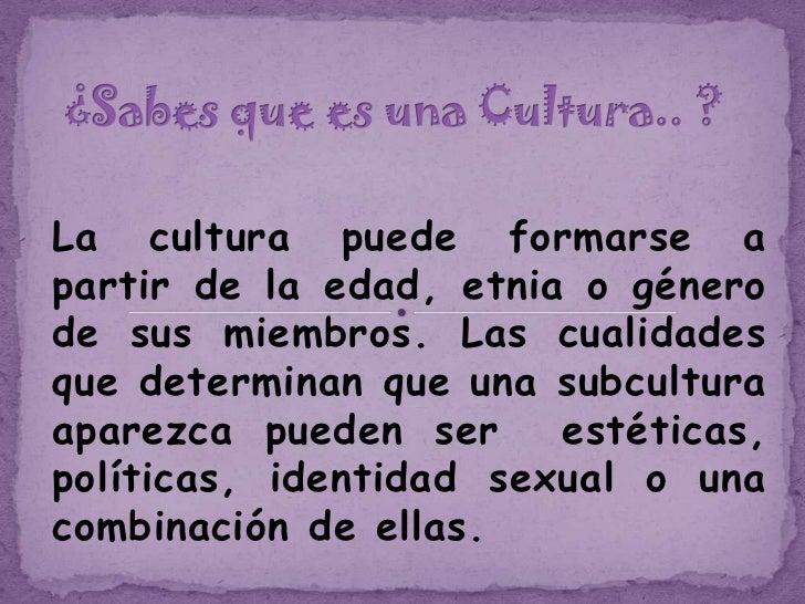 La cultura puede formarse apartir de la edad, etnia o génerode sus miembros. Las cualidadesque determinan que una subcultu...