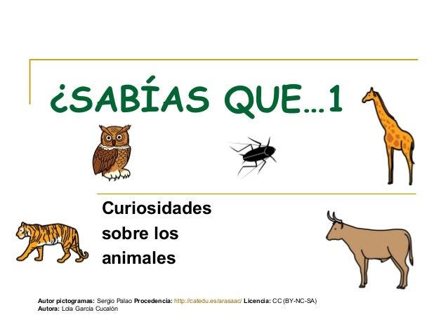 ¿SABÍAS QUE…1                     Curiosidades                     sobre los                     animalesAutor pictogramas...