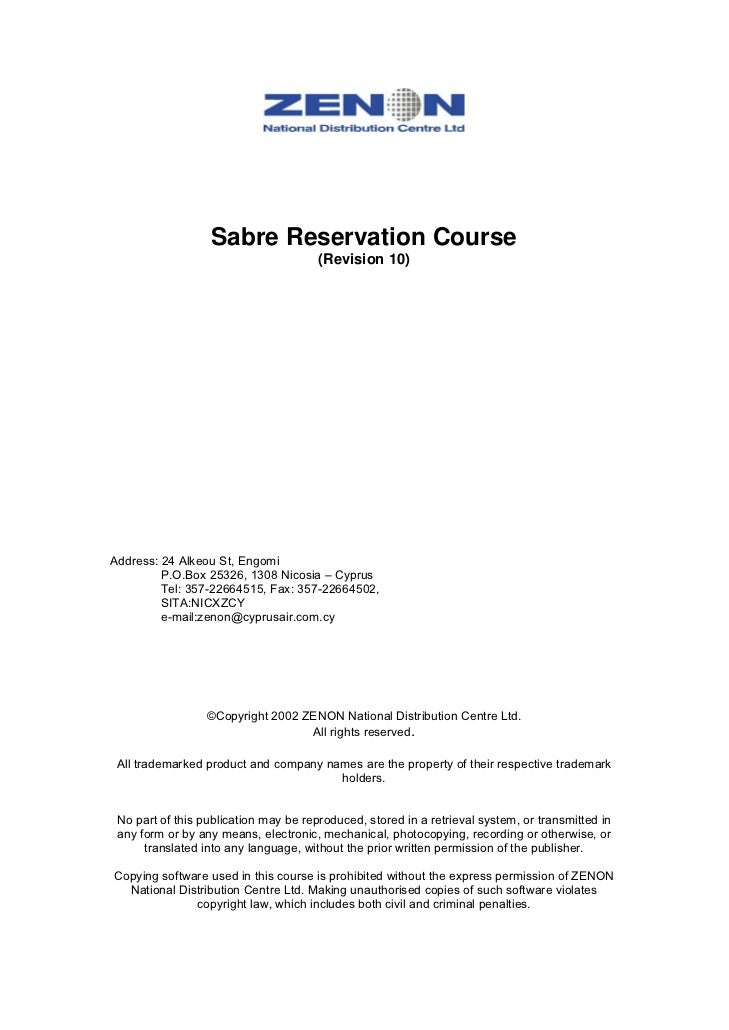 Sabre Reservation Course                                       (Revision 10)Address: 24 Alkeou St, Engomi         P.O.Box ...