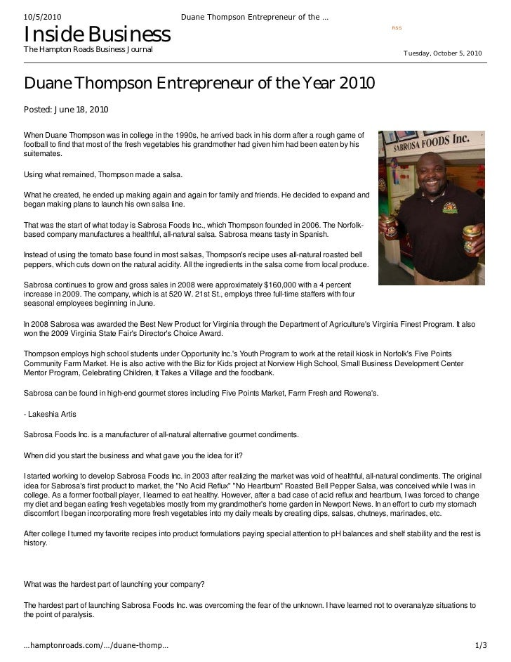 November 2009                                               Duane Thompson's passion for salsa          sparked in the mid...