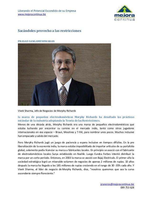 Liberando el Potencial Escondido de su Empresa www.mejoracontinua.biz  Sacándoles provecho a las restricciones PRASAD SANG...