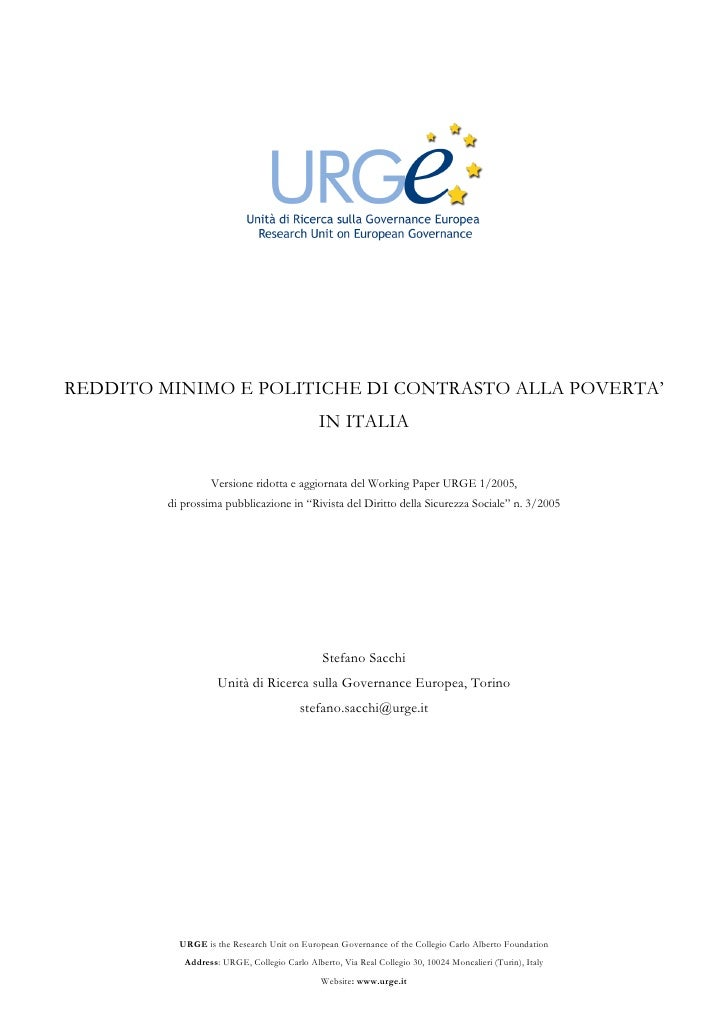 Reddito Minimo e Politiche di Contrasto alla Povertà in Italia - 2005 - URGE