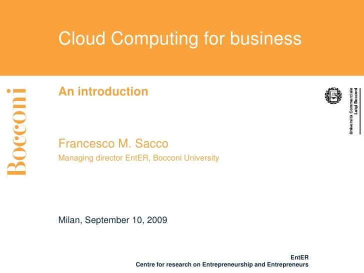 CloudCamp Milan 2009: Univ. Bocconi (EntER)