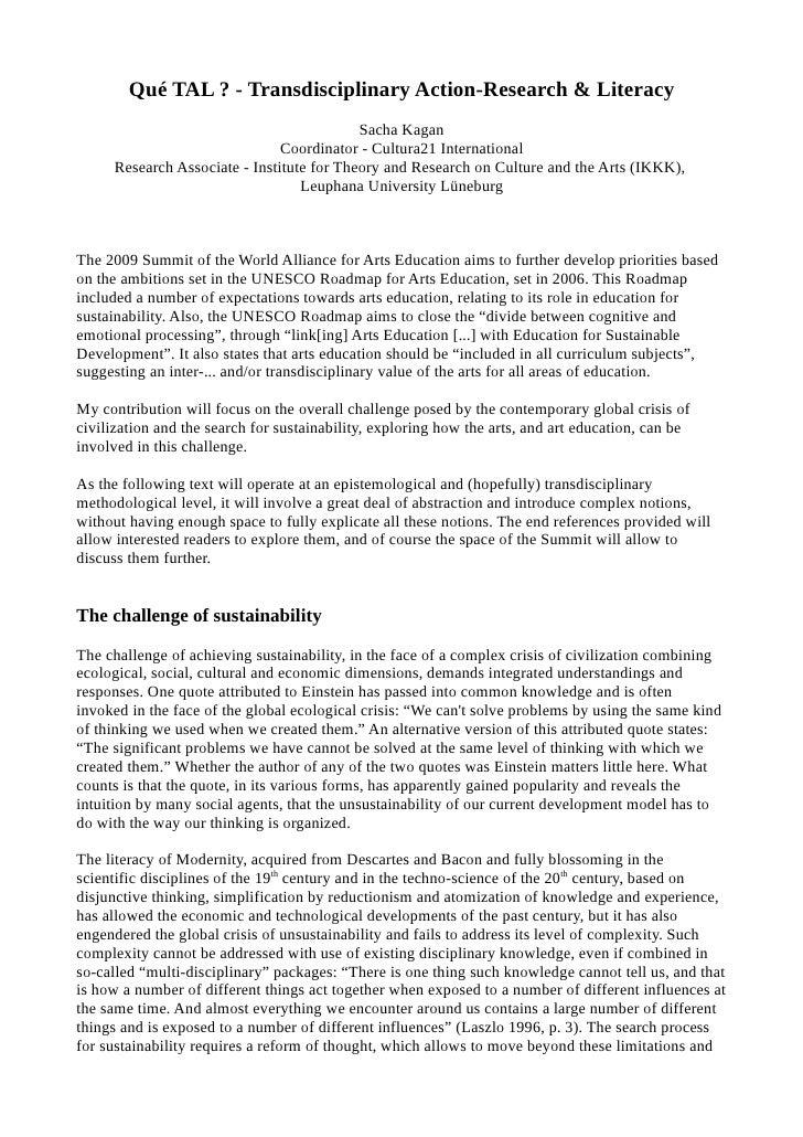 Qué TAL ? - Transdisciplinary Action-Research & Literacy                                            Sacha Kagan           ...