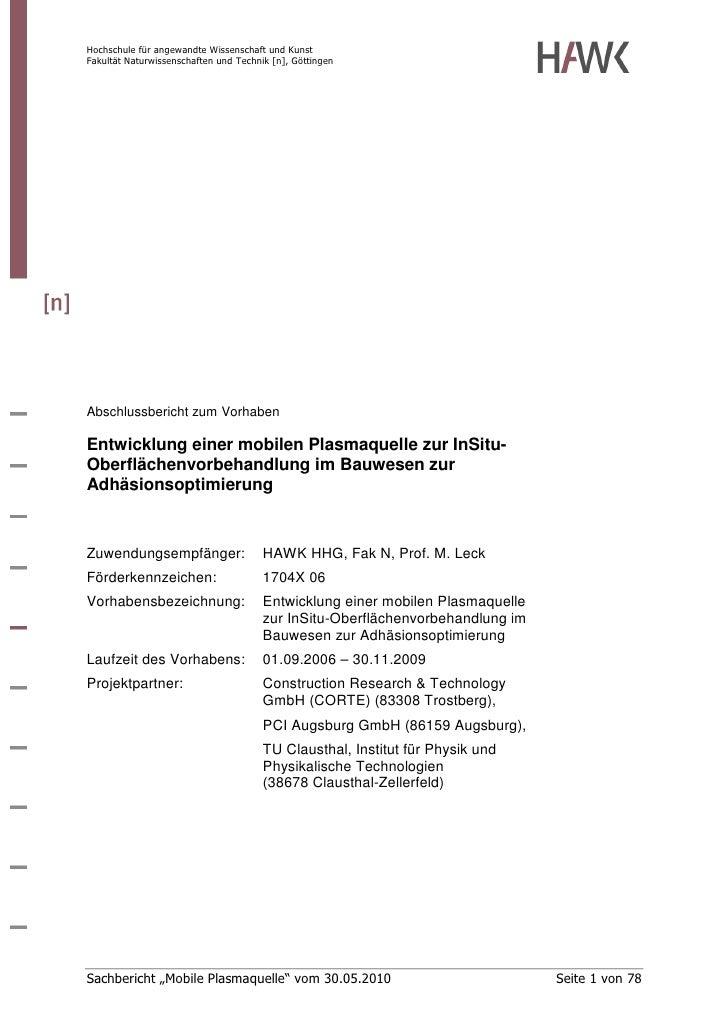 Hochschule für angewandte Wissenschaft und Kunst Fakultät Naturwissenschaften und Technik [n], Göttingen     Abschlussberi...