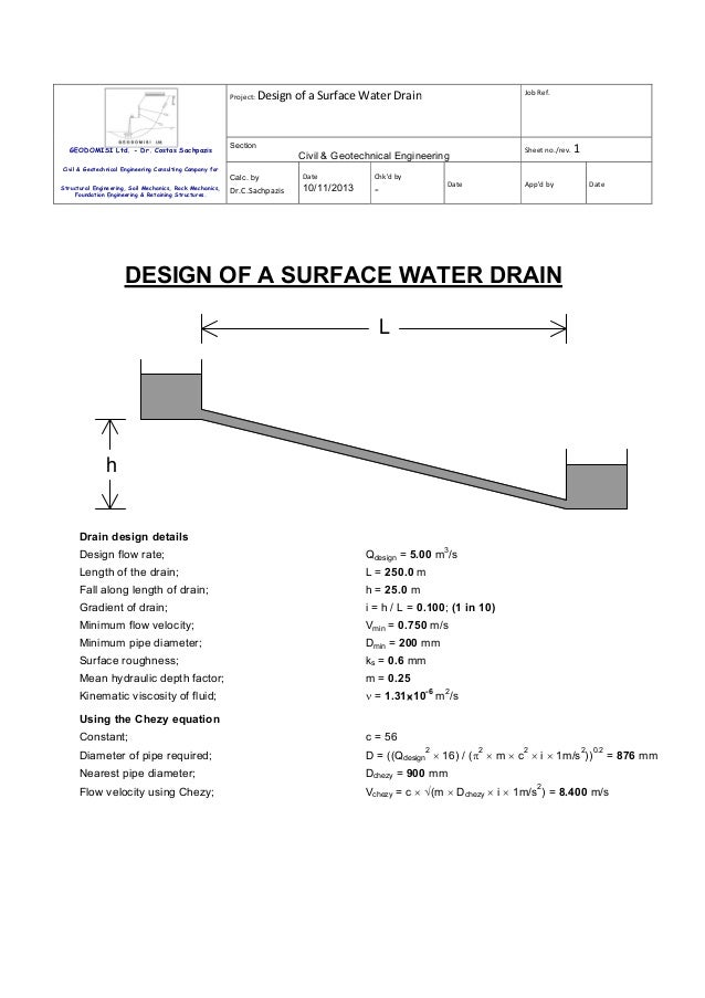 Project: Design  GEODOMISI Ltd. - Dr. Costas Sachpazis  Job Ref.  of a Surface Water Drain  Section  Sheet no./rev. 1  Civ...