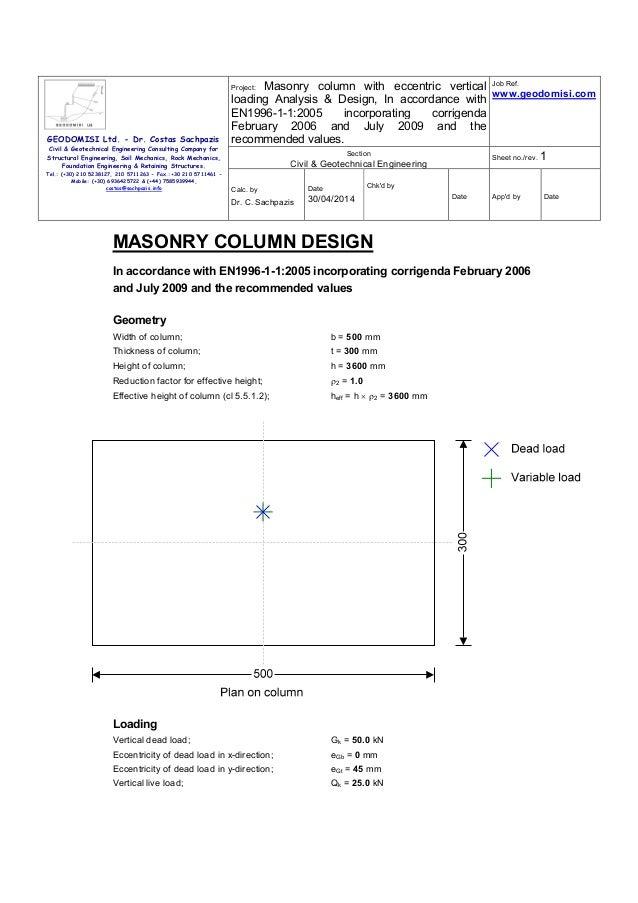 Sachpazis Masonry Column with eccentric vertical Loading Analysis & Design (EN1996-1-1-2005)