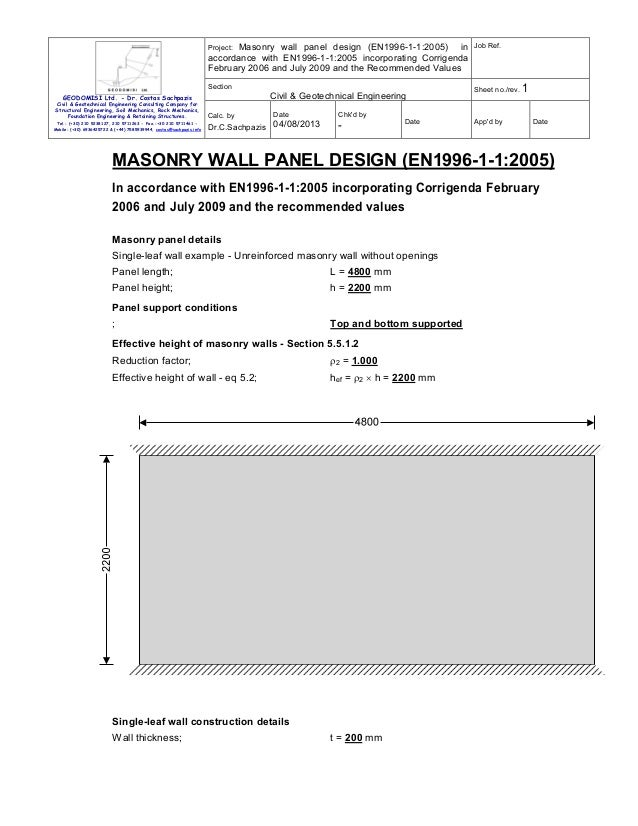 Project: Masonry wall panel design (EN1996-1-1:2005) in accordance with EN1996-1-1:2005 incorporating Corrigenda February ...