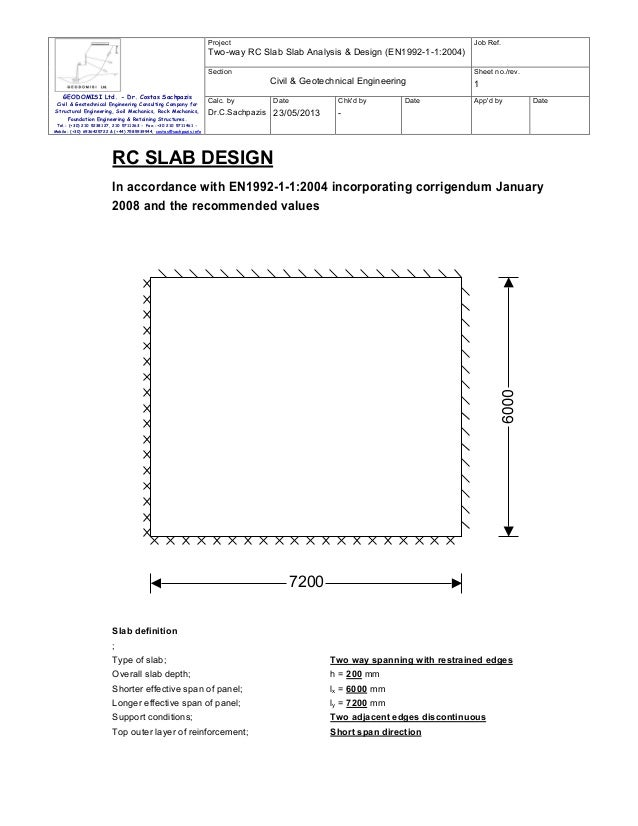 Project  Job Ref.  Two-way RC Slab Slab Analysis & Design (EN1992-1-1:2004) Section  Sheet no./rev.  Civil & Geotechnical ...