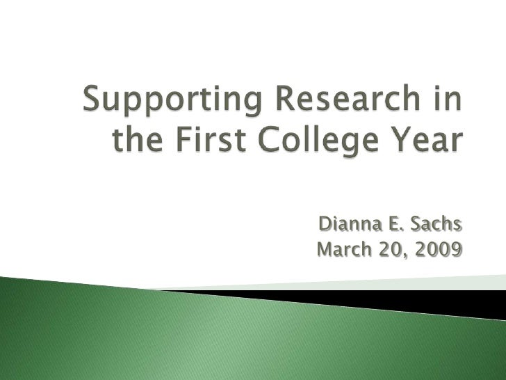 Supporting Research in the First College Year