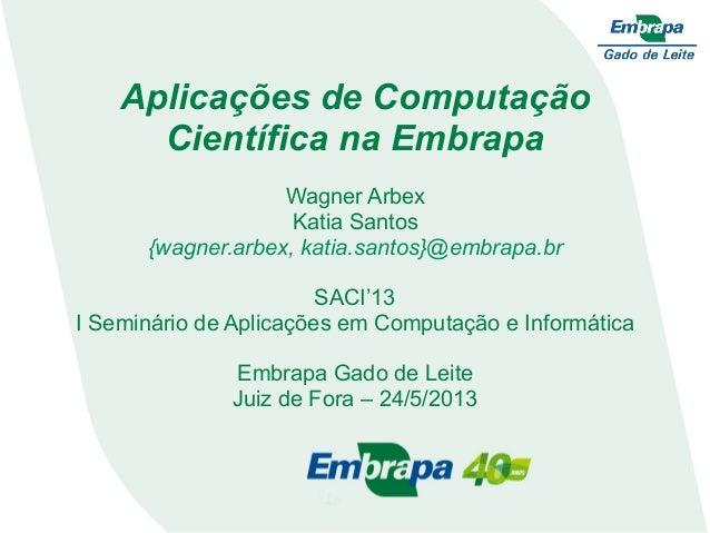 Aplicações de ComputaçãoCientífica na EmbrapaWagner ArbexKatia Santos{wagner.arbex, katia.santos}@embrapa.brSACI'13I Semin...