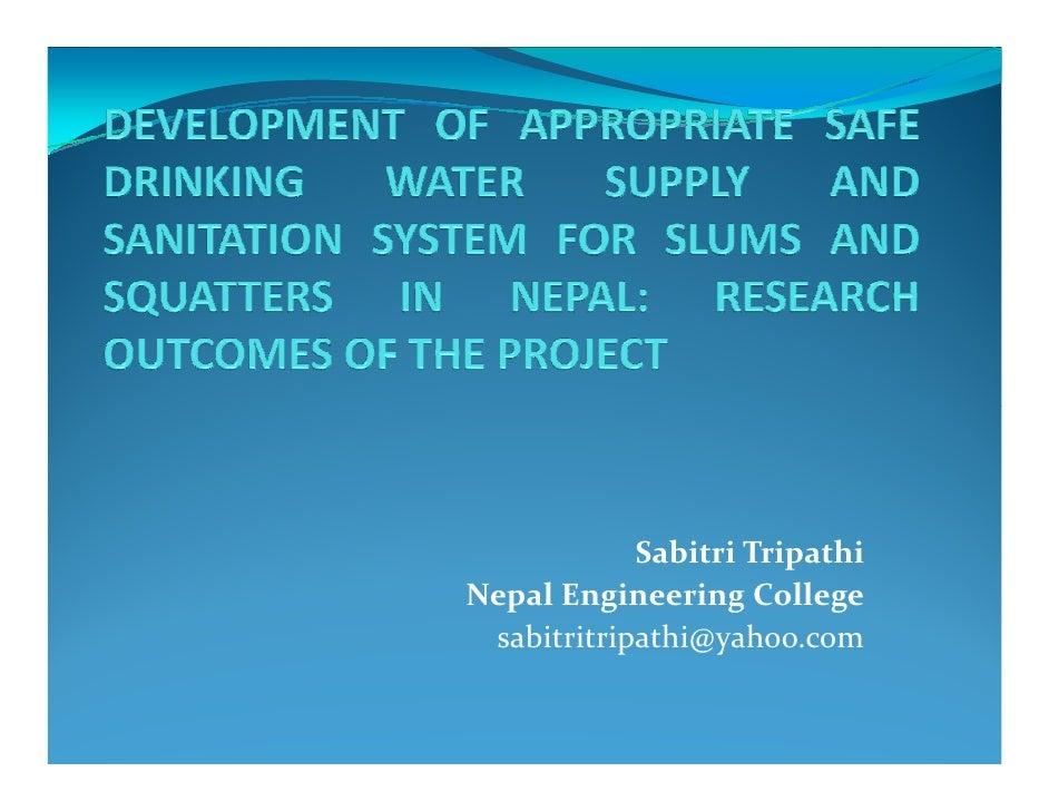 Development of Safe Drinking Water Supply_Ms. Sabitri Tripathi