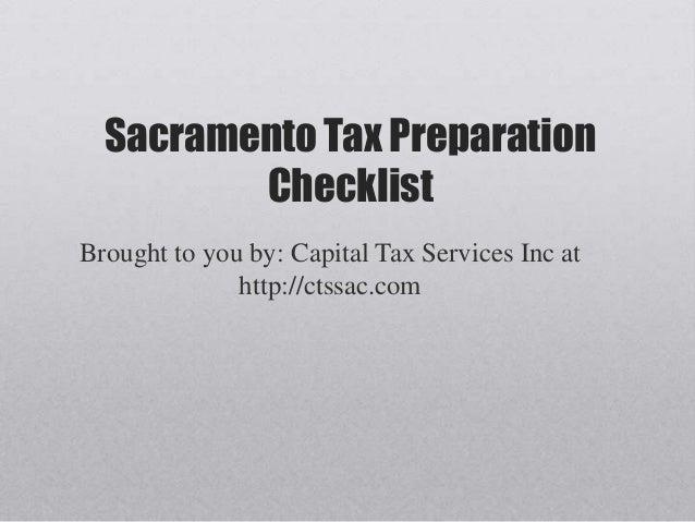 Sacramento Tax Preparation Checklist