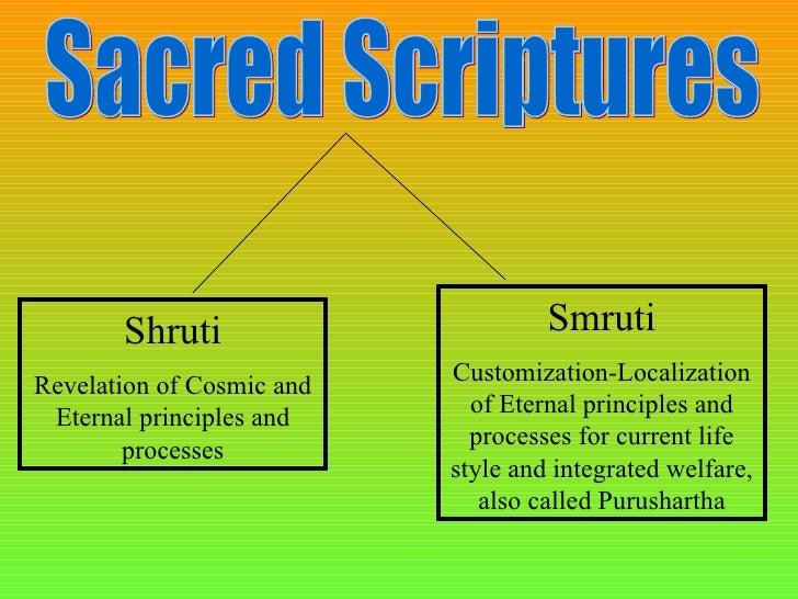 Sacred Scriptures Shruti Revelation of Cosmic and Eternal principles and processes Smruti Customization-Localization of Et...