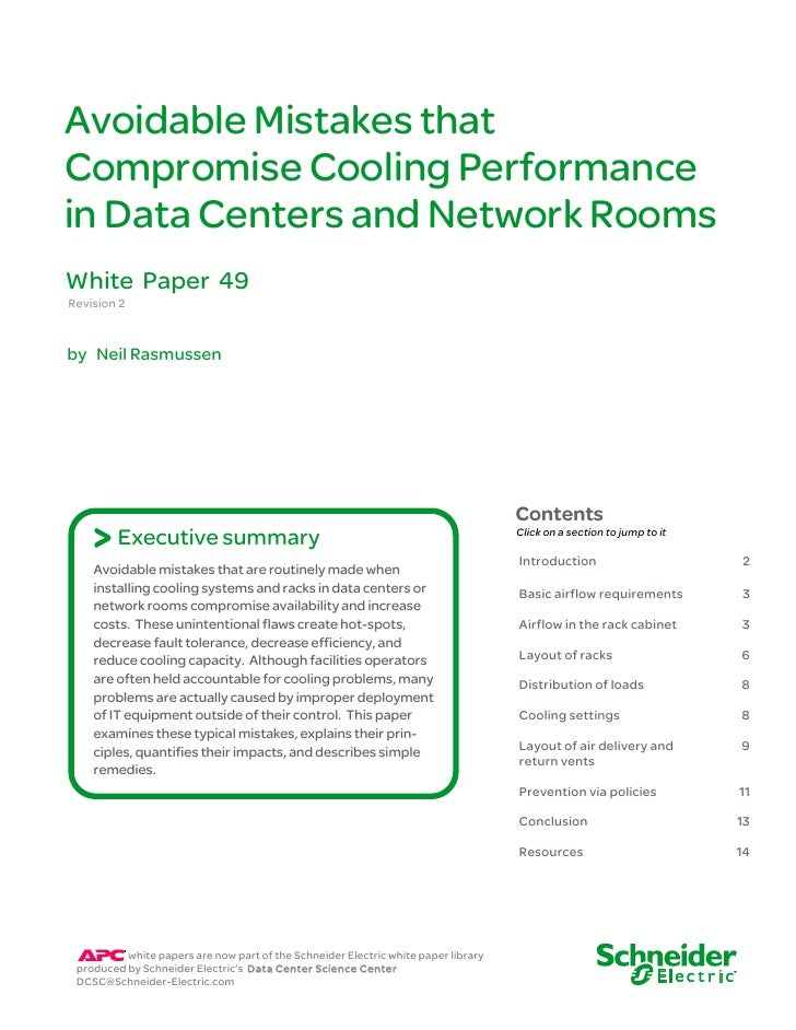 Avoidable Mistakes thatCompromise Cooling Performancein Data Centers and Network RoomsWhite Paper 49Revision 2by Neil Rasm...